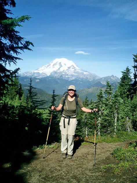 Anfang September vor dem Mount Rainier im Bundesstaat Washington, dem mit 4.392 Metern höchsten Berg des Kaskadengebirges. © Christine Thürmer, Malik Verlag