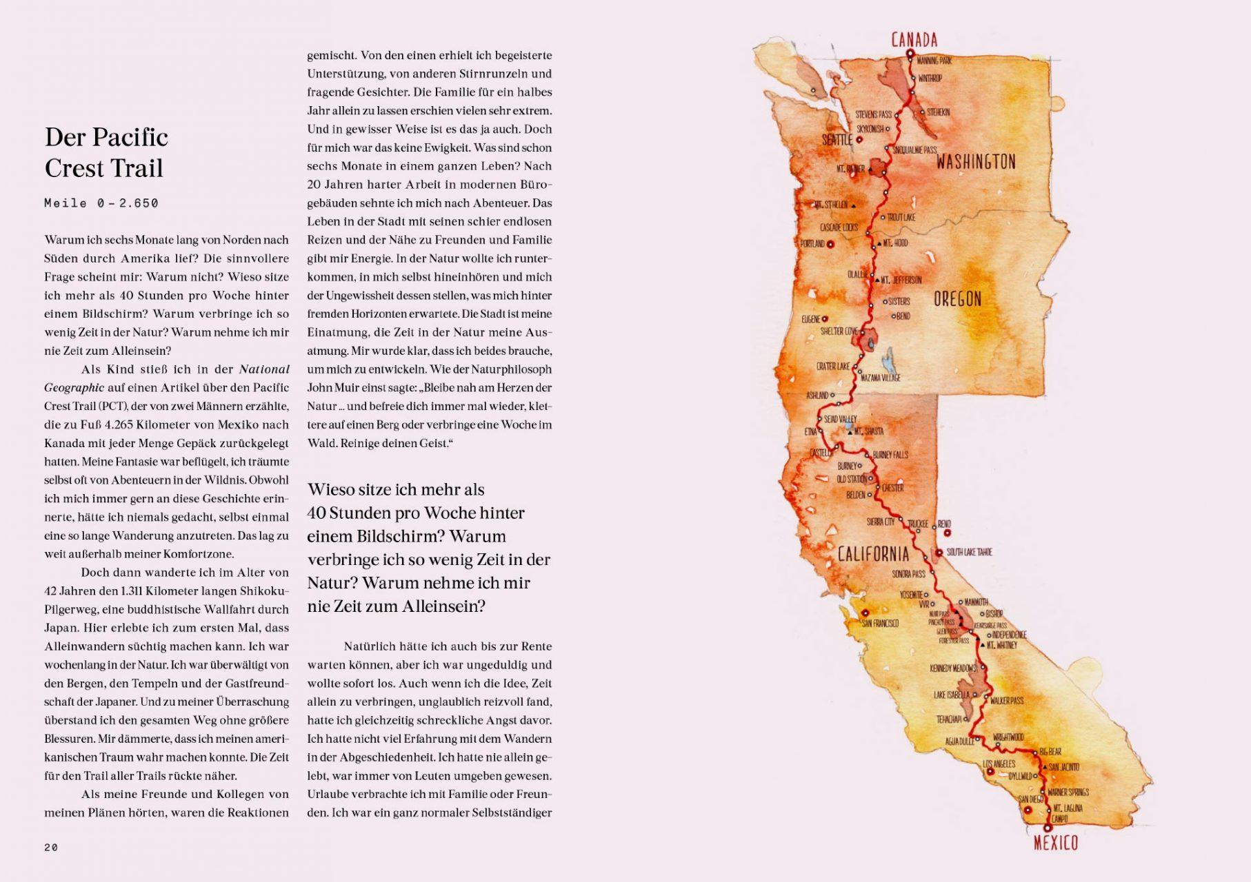 """Überblick Pacific Crest Trail, Doppelseite aus dem Buch """"Allein"""", erschienen im Gestalten Verlag, @gestalten"""