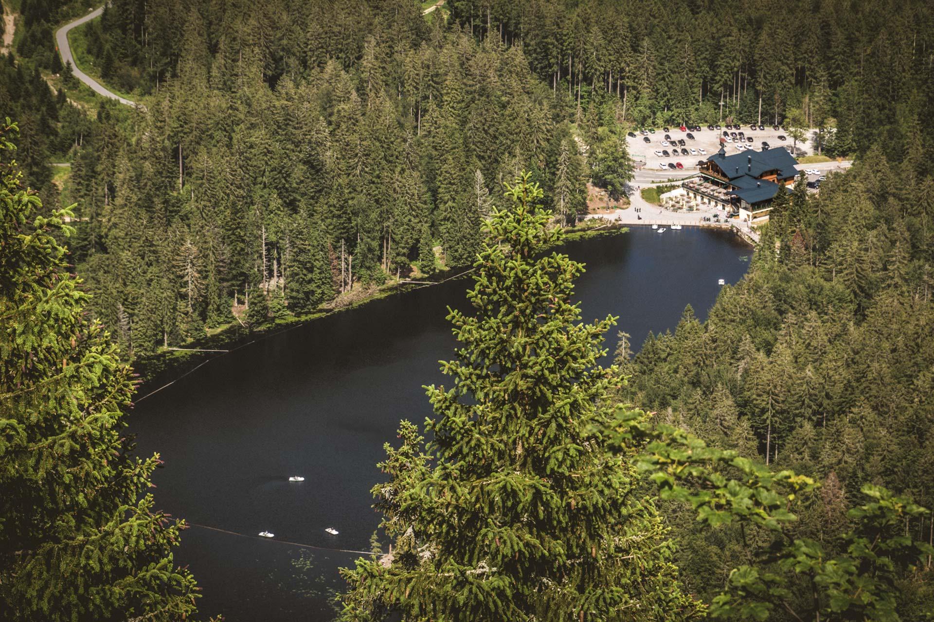 Knapp 400 Meter tiefer direkt unter der steilen Felswand gelegen: der Große Arbersee