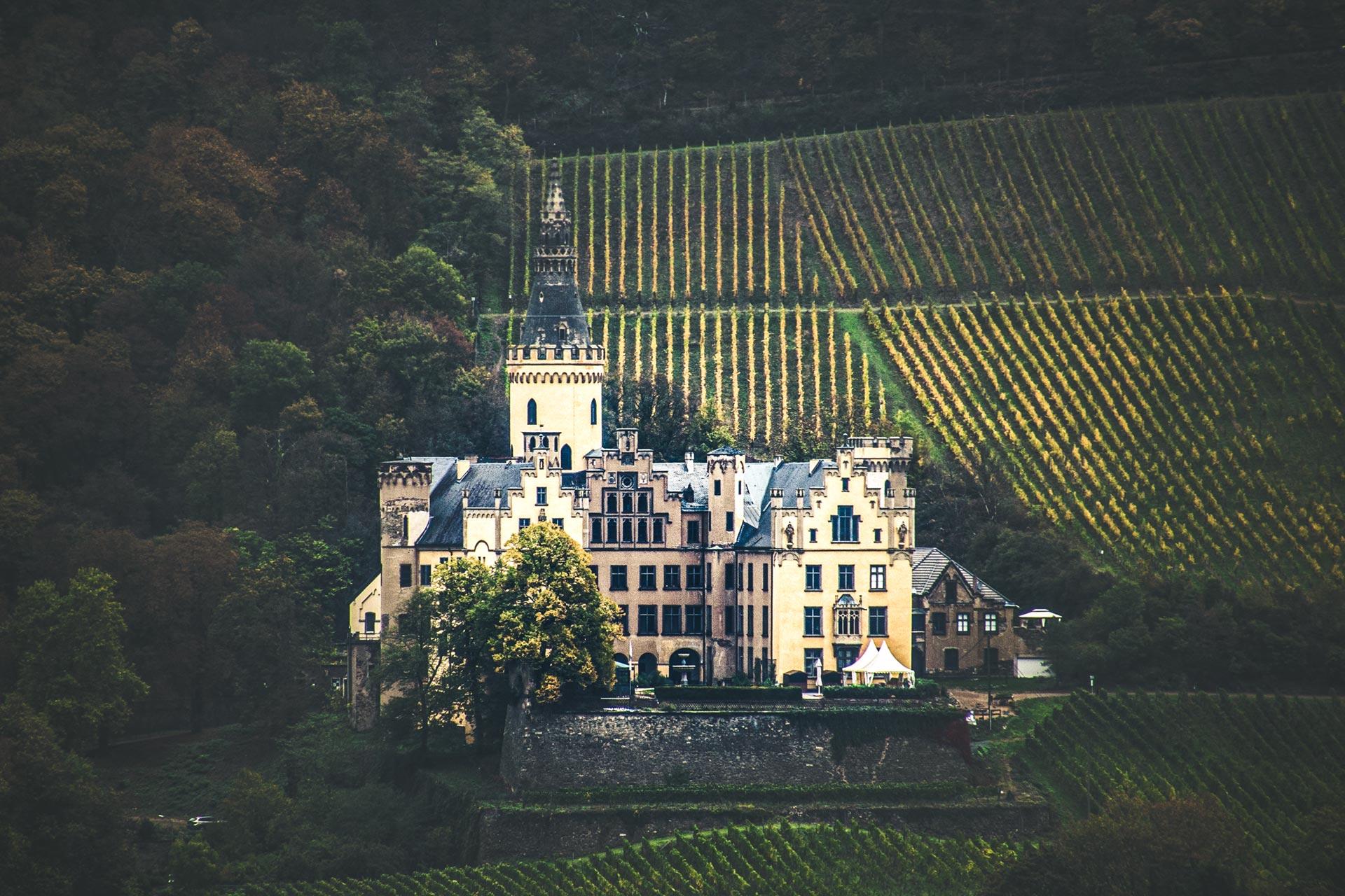 Burg Arenfels am anderen Rheinufer