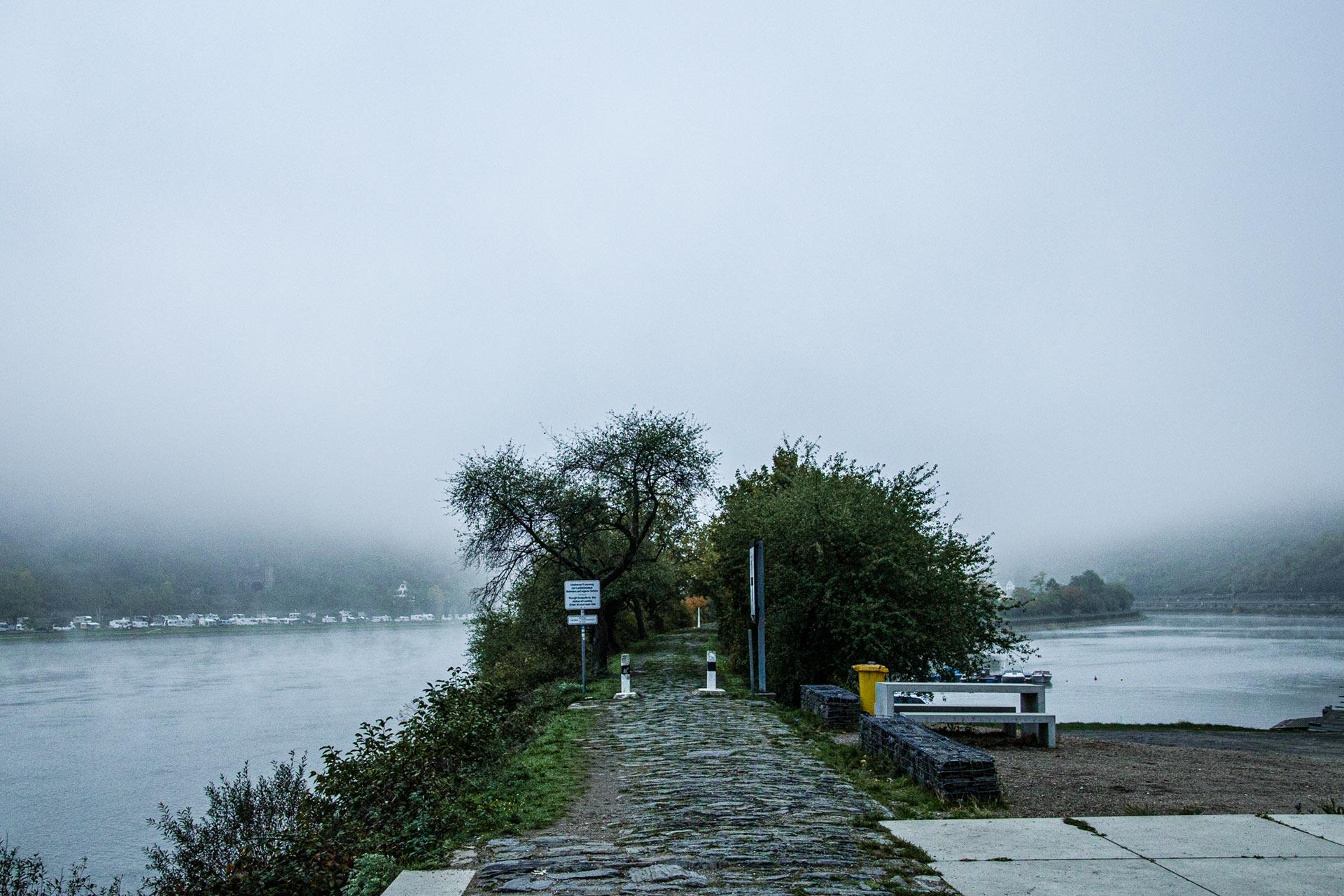 Noch hängt der Nebel tief über dem Rhein, soll sich aber im Laufe des Tages lichten.