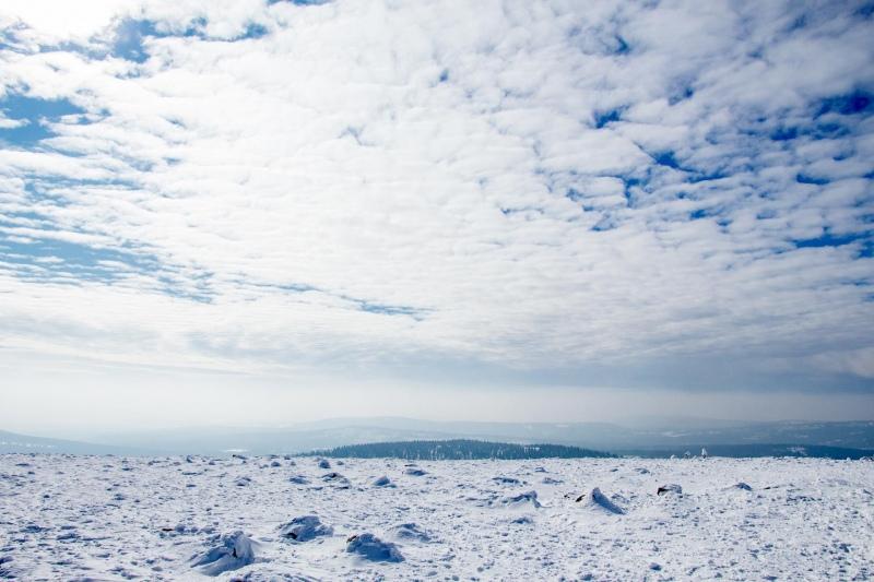 Auf dem völlig freien Gipfel des Brocken im Harz bietet sich an guten Tagen ein 360-Grad-Blick ins Anhaltinische Land. Heute eher nicht.