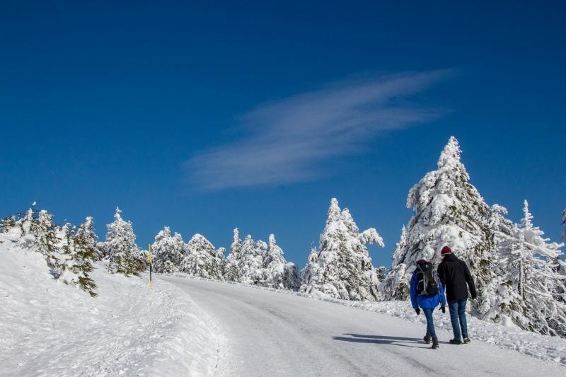 Die Straße zum Brocken ist zwar vereist aber zur Freude der Wanderer gut gestreut.