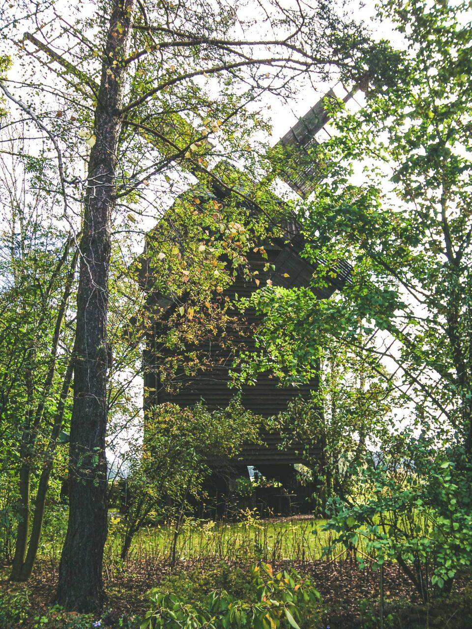 Direkt am Weg gelegen: die Hohlenbrücker Mühle. Eine original erhaltene Bockwindmühle aus der Mitte der 18. Jahrhunderts. Heute ausgebaut zum Wohnhaus.