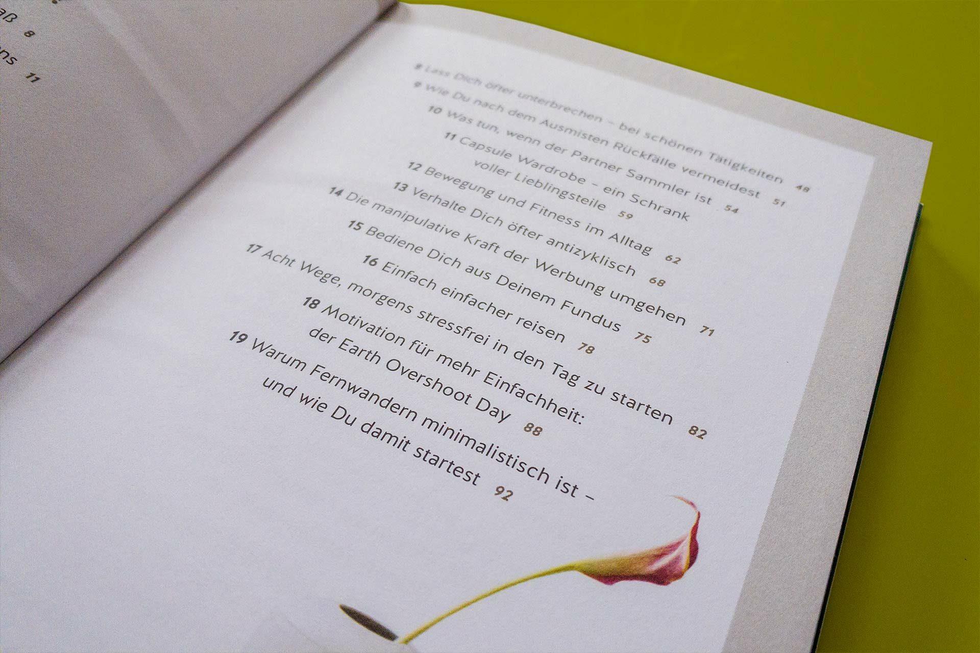 Inhaltsverzeichnis des Minimalismus Buch von Christof Herrmann