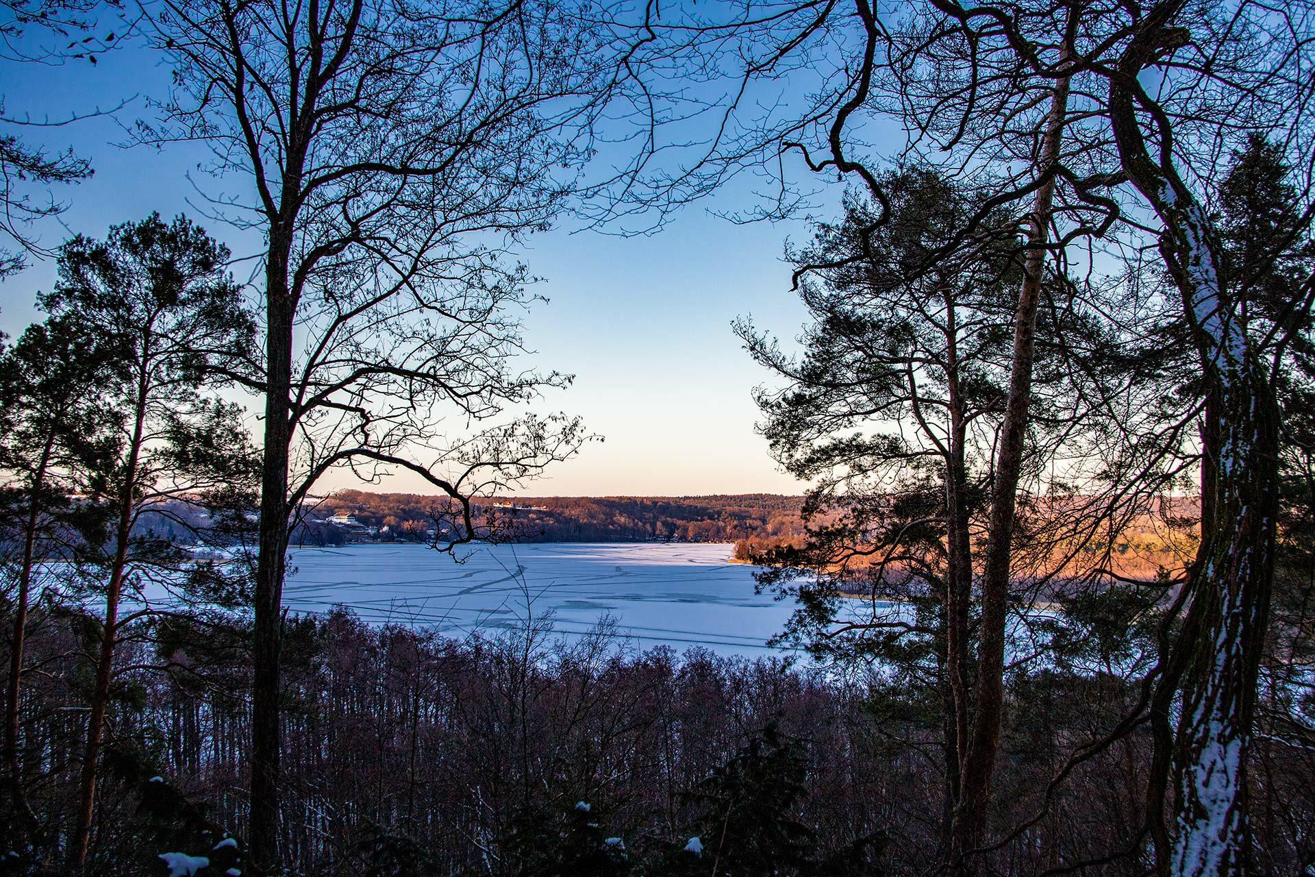 Der Schermützelsee in winterlichen Farben einer tief stehenden Sonne